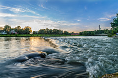 Sunset at Isar River (Vladi Stoimenov) Tags: 2016 bavariabayern d610 flaucher germany isarriverisarisarkanal landscape lightroom6 munich sky summer tripod unclouded wideangle year zoomlens water wave wonderful esenciadelanaturaleza