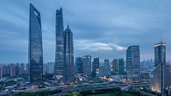 Timelapse of Lujiazui Shanghai (HIKARU Pan) Tags: china city building horizontal night outdoors timelapse video asia cityscape nightscape shanghai cloudy chinese aerialview jinmaotower lujiazui shanghaitower 1dx timelapsevideo shanghaiworldfinancialcenterswfc canontse17mmf4l eos1dx