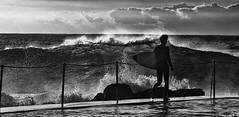 A Hairwaving Shot (rosiebondi) Tags: ocean blackandwhite surf waves surfer sydney australia surfing