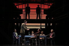 (l to r) John Rochette, Keith Hines, Hayden Milanes, Nicolas Dromard, Drew Seeley and Thomas Fiscella in the Broadway Sacramento presentation of JERSEY BOYS at the Community Center Theater Nov. 5 – 22, 2014. Photo by Joan Marcus.