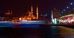 Galata View (burnett_chad) Tags: bridge night turkey golden raw sony istanbul mosque horn streaks galata nex