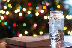 Oh Christmas Tree! (Buffalo Lucy) Tags: christmas lights book bokeh christmastree christmaslights masonjar glassofwater buffalolucy