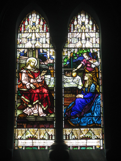 The Harriet Mary Ellis Memorial Stained Glass Window of Jesus in the House of Martha and Mary; St Judes Church of England - Corner of Lygon, Palmerston and Keppel Streets, Carlton