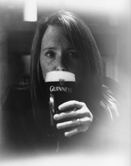 9,Wife and a pint (Stephen Doherty3) Tags: english 120 6x6 tlr wet print pub kodak guinness d76 pint ilford fp4 2014 fotospeed delmonta