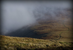 Descending the to the mist (WayShare) Tags: mist brecon beacons footpath moorland carnpica