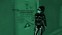 Jackpot (alexandriabrangwin) Tags: world woman black green wet leather night work computer hair soldier 3d outfit graphics shiny ship secret military navy goggles gear vessel rubber storage glossy filter secondlife virtual armor weapon infrared latex mission corset stealth guns frigate pistols wetsuit ops catsuit cgi adventurer sneaking padded updo nvg holsters vidion alexandriabrangwin thealexandrianorder
