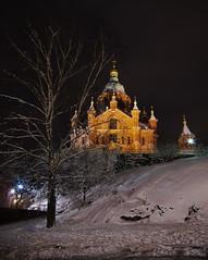 Uspenski Cathedral (Rob Hurson) Tags: city snow cold ice architecture night suomi finland helsinki pentax orthodox k30 pentaxk30 samsung1224mmf4