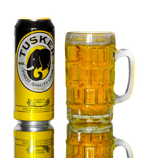 A Can and Mug of Tusker Beer
