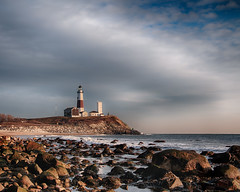 Montauk Light (Bill'sLIPhotos) Tags: ocean sky lighthouse ny newyork beach water clouds canon eos li big rocks january longisland montauk drama hdr 2015 montaukpoint 70d efs18135stm
