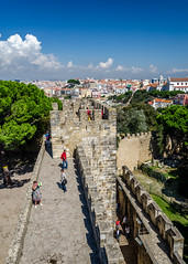 Castelo de So Jorge (DingoShoes - life's a dream) Tags: travel history portugal clouds vintage nikon lisboa lisbon perspective sunny nikkor castelodesojorge travelphotography stgeorgecastle nkkor nikond7000