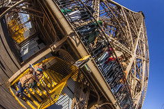 At the middle section of the Eiffel Tower (filchist) Tags: blue sky people paris france building metal architecture tour eiffeltower hdr 2014  effel    obserbationdeck