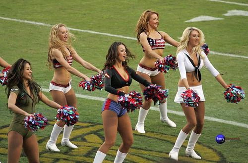 Redskinette Cheerleaders Masako, Rachel K., Maigan, Meag and Stephanie.