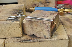 Silver soldering setup using forceps (edhume3) Tags: livesteam fabrication smokebox d303536 silverbrazing clamping