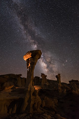 Alien Throne (Sandra Herber) Tags: newmexico night stars astrophotography milkyway valleyofdreams ahshislepahwildernessstudyarea alienthrone