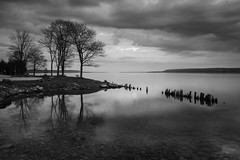 Twice (Bert CR) Tags: sky blackandwhite bw reflection monochrome clouds sunrise reflections dawn bay blackwhite bed cloudy jetty georgianbay overcast twice comfort 2470l wiarton colpoysbay skancheli