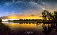 Milky Way at Dawn (Greg Lundgren Photography) Tags: morning trees sky reflection minnesota wisconsin night sunrise river dawn midwest astrophotography stcroixriver milkyway
