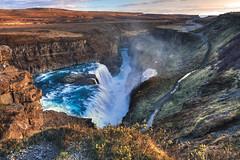 Power (Q Sawalha) Tags: travel blue sunset orange nature water river landscape waterfall iceland stream path adventure huge powerful gullfoss