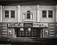 The Chalet Theatre (mjardeen) Tags: blackandwhite bw white black texture mamiya architecture movie ir washington theater conversion theatre patterns 55mm m42 wa enumclaw sx on1 sekor 720nm lifepixel 18 on1effects mamiyasekor55mm18