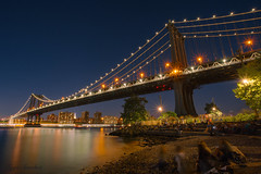 The Crowd and the Bridge (10iggie) Tags: people brooklyn lights waterfront manhattan smooth