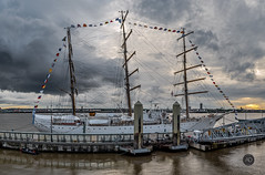 The beauty is a beast. (alun.disley@ntlworld.com) Tags: aralibertad sailingship vessel cruiseliverpool transport weather clouds liverpool rivermersey sunset frigate masts bunting flags portsandharbours maritime argentina