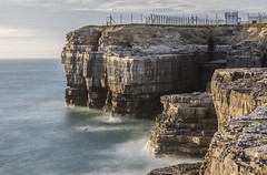 Cliffs at Portland Bill, Isle of Portland , Dorset, UK (Nick L) Tags: portland portlandbill portlandstone isleofportland longexposure mod rock land sea water geology fence eos canon 5d 5d3 2470li 10stopper 10stopnd