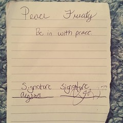 I found a peace treaty Alyssa and Ryan made with each other. Be in with peace!  (Jenn ) Tags: ifttt instagram