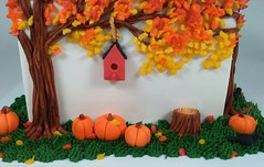 Birdhouse (Edible Delights) Tags: autumn fall pumpkins crow stump tree red yellow orange cute leaves gumpaste fondant cake halloween