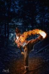 """Stunt-Sheep Cosplay as Korra from """"Avatar: The Legend of Korra"""", by SpirosK photography : Fire-bending (SpirosK photography) Tags: stuntsheepcosplay bending avatar legendofkorra korra cosplay costumeplay fotocon2016 fotocon spiroskphotography fire firebending portrait fantasy comics"""