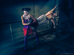 Crazy Clowns - Grrrrr - DSC6914 A7 (cleansurf2 - Portrait portfolio) Tags: crazy clown clowns weird strange circus performer people portrait photography pretty play urbex urban underworld underground freaky fullframe fun woman rustic roleplay emount theme theater texture australian ilce industrial ilce7m2 interesting outfit light gritty grime figure dark face drama decay demented disturbed darkness darkdeviations sony scary a7ii abandoned cosplay costume colour color character cinematography costuming cool cinematic comic cirkosnewcastle corset creepy cirkos vivid vibrant black naughty model mirrorless mayhem