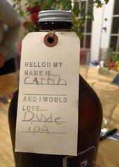When you take your kid to the craft brewery (Ruth and Dave) Tags: beer ipa rbbrewing growler label child handwriting craftbeer dudeipa vancouver