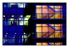 heures de bureau (Marie Hacene (trs occupe, fait des licences de) Tags: paris 13e bureaux nuit vitre fentres transparence silhouettes urbain escalier