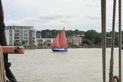 Once in a... (innpictime  ) Tags: river blue boat london thames ochre greenwich sailing sails yacht se10 ballastquay 514878280002055 bluemoon pleasureboat boating gaffrigged classic