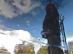 The Weirdest Satellite (andressolo) Tags: park sky moon distortion reflection london water clouds reflections downs puddle weird distorted satellite reflected reflect reflejo hackney reflejos distortions