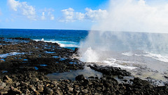 Spouting Horn Kauai Hawaii (theeqwlzr) Tags: sky beach clouds hawaii bluesky pacificocean blowhole kauai waterspout blueocean lavarocks kauaihawaii