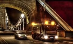 The Midnight Sweeper (nedjetwave) Tags: nightphotography london night towerbridge marden midnight pointshoot cityoflondon casioqv3000ex roadsweeper highwaymaintenance scarabmerlin scarabsweepersltd