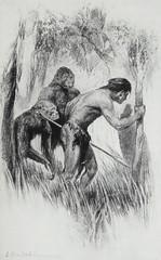 """Behind him crept Chulk and Taglat."" Art by J. Allen St. John for E. R. Burroughs' ""Tarzan and the Jewels of Opar"" (1918) (lhboudreau) Tags: books book hardcover hardcovers coverart bookart art illustration illustrations drawing drawings tarzan jallenstjohn stjohn burroughs erburroughs edgarriceburroughs novel story jungle junglestory apeman sciencefiction sciencefictionstory sciencefictionnovel sf fantasy jewelsofopar thejewelsofopar tarzanandthejewelsofopar 1918 firstedition mcclurg acmcclurg chalk taglat atlantis gold opar loincloth"