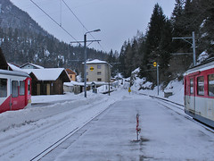 RD305.  Le Chtelard-Frontiere. (Ron Fisher) Tags: snow schweiz switzerland suisse rail railway thealps ch narrowgauge dieschweiz lasuisse schmalspurbahn montblancexpress metregauge voieetroite