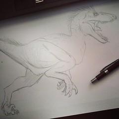 Inspirado no Raptor do jurassicpark3 (ruan.silver) Tags: square sketch squareformat unknown velociraptor jurassicpark rabisco iphoneography instagramapp uploaded:by=instagram jurassicworld