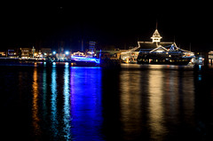 Blue Reflection (linda m bell) Tags: california christmas blue reflection boats lights newportbeach socal balboaisland 2014