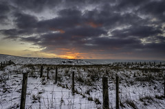 Burning Sky (Tim Glidden) Tags: morning winter light sky snow field clouds sunrise fence wow landscape wire purple snowy burning covered omg fireinthesky saddleworth