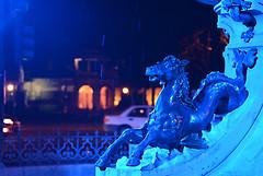 A Blue Horsey Thing (PhotosbyDi) Tags: nightphotography horse fountain statue pallmall bendigo nikond600 nikonf282470mmlens bendigod600