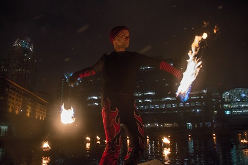 Fire dancer Andrew Lindsay spins fire at WaterFire for RI Inauguration 2015. Photo by Jen Bonin.