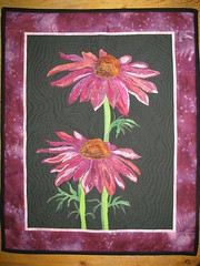 Echinacea (hgates47) Tags: quilt echinacea cotton coneflower applique batik wallhanging 2011 fusible threadpainting rawedge threadplay echoquilting