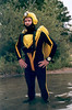 Cousteau vintage style yellow striped wetsuit. (Vintage Scuba) Tags: red man black men wet yellow fetish silver james us divers pants mask boots tail stripe gear scuba diving double hose beaver equipment suit jacket bond hood diver beavertail fin jacques booties striped fins wetsuit 007 regulator cousteau