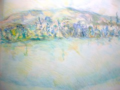 Maine Mountain Reflections (SandraNestle) Tags: mountains art reflections landscapes originalart maine drawings sketchbook rivers sandranestle