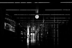 ...tentoeight... [explored 27, may 2016] (ines_maria) Tags: vienna wien city light people urban white reflection clock monochrome lines station contrast time streetphotography lamps figures blancetnoir