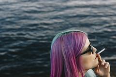 Heads (lastmammoth) Tags: blue sea inspiration color water girl hair cool purple cigarette smoke smoking majestic