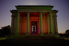 Mausoleum of Claus Spreckels, the Sugar King (Karol Franks) Tags: ca longexposure light monument night painting outdoors place painted mausoleum final resting memorialpark colma cypresslawn sugarking troypaiva clausspreckels