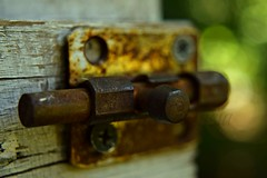Rusty Keeper (TheCozyEscape) Tags: wood old detail macro green texture closeup screws rust open bokeh lock object country rustic rusty latch