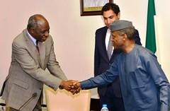L  -  R   SECRETARY-GENERAL'S ENVOY  ON   YOUTH  UNITED  NATIONS, MR.. AHMAD  ALHENDAWI, UNAIDS  COUNTRY  DIRECTOR  MR..BILALI  CAMARA AND  VICE  PRESIDENT  YEMI  OSINBAJO, DURING  A  COURTESY  VISIT